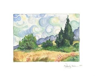 Van Gogh's Wheat Field and Cypress